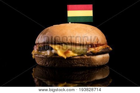 Bolivian Flag On Top Of Hamburger Isolated On Black Background