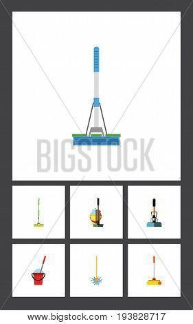 Flat Icon Mop Set Of Broomstick, Bucket, Cleaning And Other Vector Objects. Also Includes Bucket, Cleaning, Sweeper Elements.