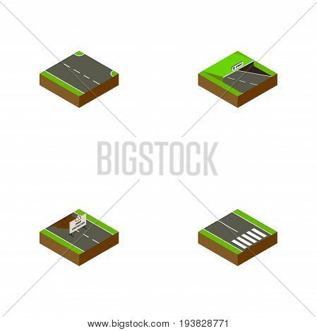 Isometric Way Set Of Pedestrian, Repairs, Rightward And Other Vector Objects. Also Includes Strip, Pedestrian, Road Elements.