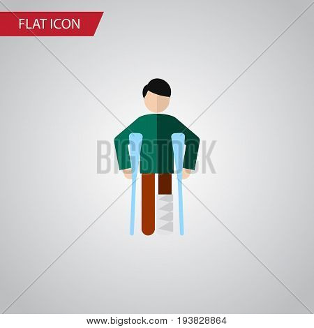 Isolated Disability Flat Icon. Injured Vector Element Can Be Used For Disability, Injured, Crutch Design Concept.