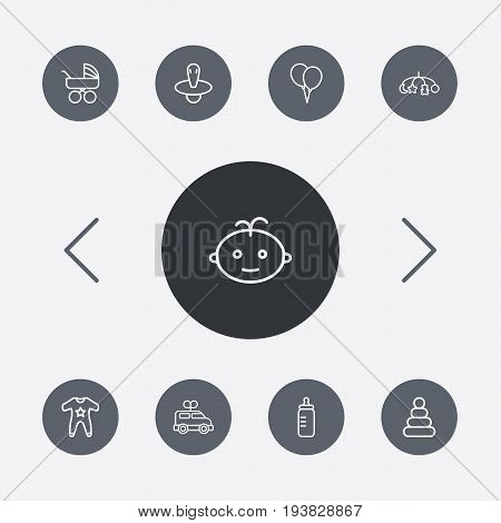 Set Of 9 Child Outline Icons Set.Collection Of Balloon, Clockwork Car, Smock And Other Elements.
