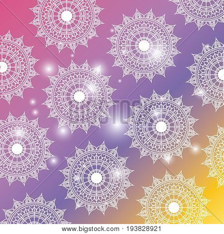 degraded color background with brightness and pattern flower mandala decorative vector illustration