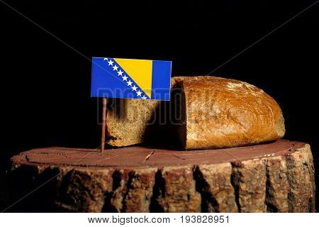 Bosnia And Herzegovina Flag On A Stump With Bread Isolated