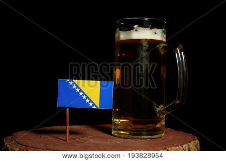 Bosnia And Herzegovina Flag With Beer Mug Isolated On Black Background