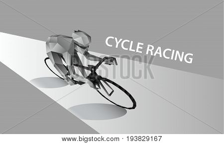 Abstract cyclist on the road. Polygonal cycling banner. Cycle racing low poly sport vector background.