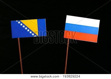 Bosnia And Herzegovina Flag With Russian Flag Isolated On Black Background