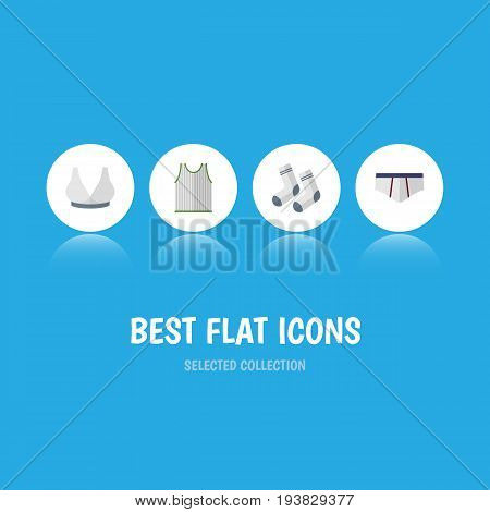 Flat Icon Garment Set Of Underclothes, Brasserie, Singlet And Other Vector Objects. Also Includes Briefs, Breast, Singlet Elements.
