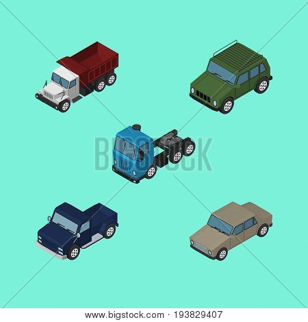 Isometric Transport Set Of Freight, Armored, Suv And Other Vector Objects. Also Includes Suv, Truck, Armored Elements.