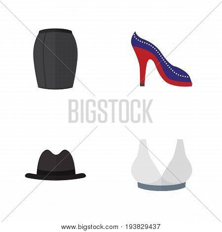 Flat Icon Clothes Set Of Panama, Brasserie, Heeled Shoe And Other Vector Objects. Also Includes Breast, Heeled, Sandal Elements.