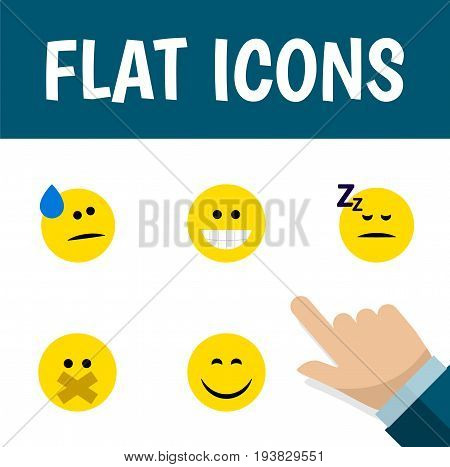 Flat Icon Emoji Set Of Smile, Hush, Grin And Other Vector Objects. Also Includes Asleep, Sleeping, Grin Elements.