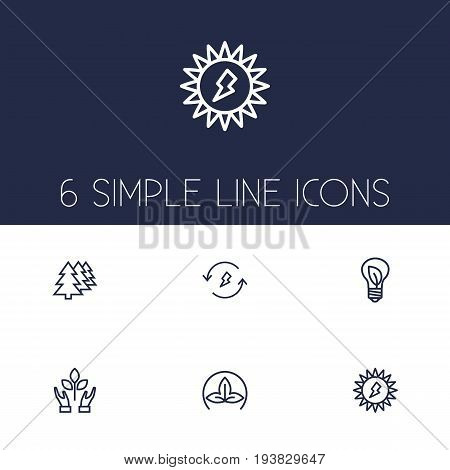 Set Of 6 Ecology Outline Icons Set.Collection Of Solar, Eco, Charge And Other Elements.