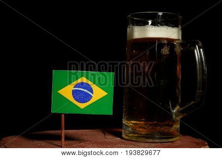 Brazilian Flag With Beer Mug Isolated On Black Background