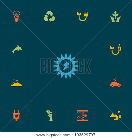 Set Of 13 Atmosphere Icons Set.Collection Of Purification, Cleaning, Leaf And Other Elements.