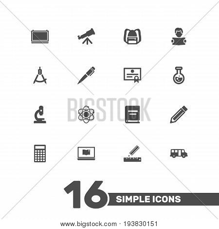 Set Of 16 Studies Icons Set.Collection Of Rucksack, Magnet Navigator, Calculate And Other Elements.
