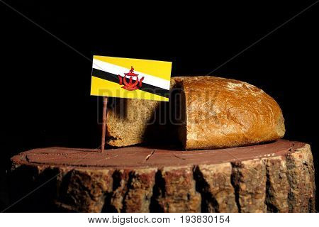 Brunei Flag On A Stump With Bread Isolated