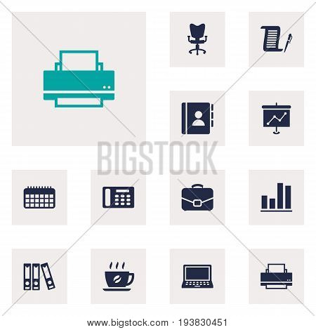 Set Of 12 Bureau Icons Set.Collection Of File Folder, Laptop, Office Chair And Other Elements.
