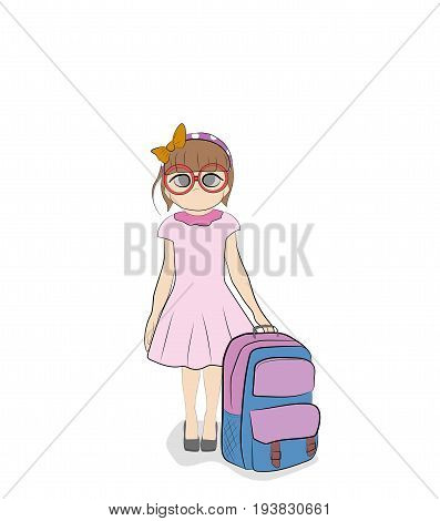 Girl schoolgirl with a backpack. Concept of school education. Hand drawn cartoon vector illustration for design and infographics.