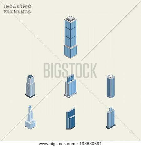 Isometric Skyscraper Set Of Cityscape, Residential, Tower And Other Vector Objects. Also Includes Center, Urban, Cityscape Elements.