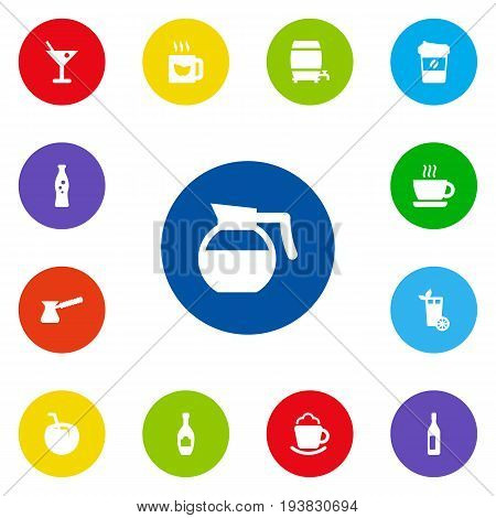 Set Of 13 Drinks Icons Set.Collection Of Cream, Turkish Coffee, Fizzy Water And Other Elements.
