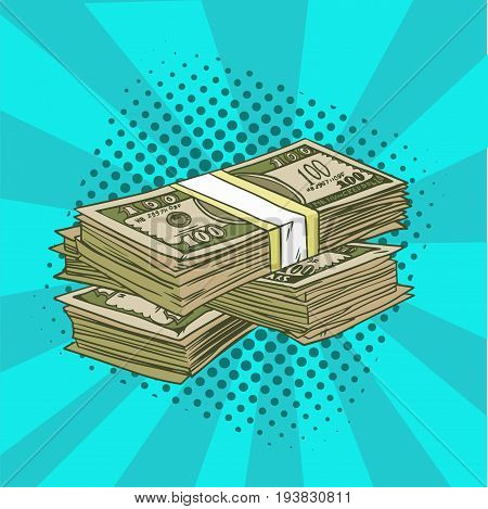 A pack of dollars pop art. Denominations of 100 in the comic style. Vector illustration.