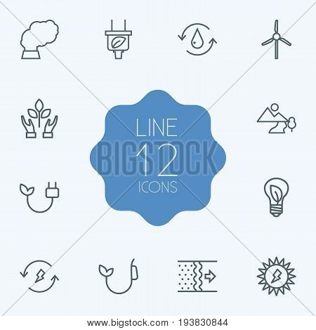 Set Of 12 Bio Outline Icons Set.Collection Of Solar, Wind Turbine, Air And Other Elements.