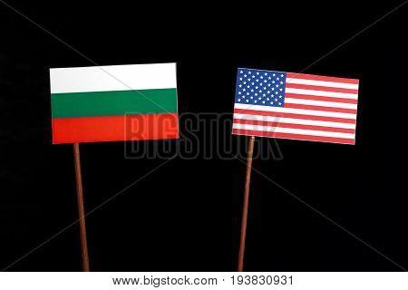 Bulgarian Flag With Usa Flag Isolated On Black Background