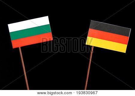 Bulgarian Flag With German Flag Isolated On Black Background