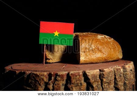 Burkina Faso Flag On A Stump With Bread Isolated