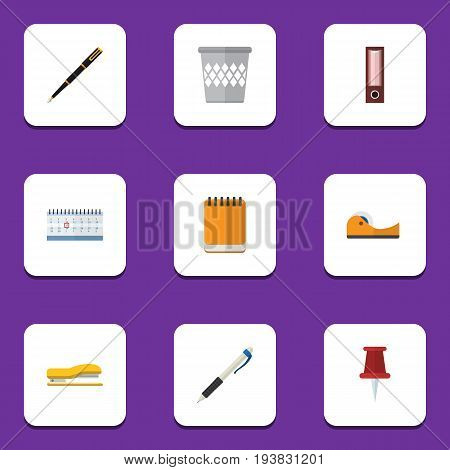 Flat Icon Stationery Set Of Trashcan, Pushpin, Nib Pen And Other Vector Objects. Also Includes Notepad, Calendar, Notepaper Elements.