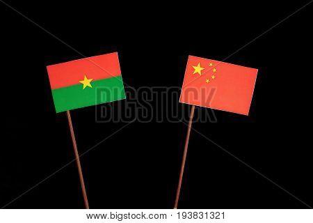 Burkina Faso Flag With Chinese Flag Isolated On Black Background