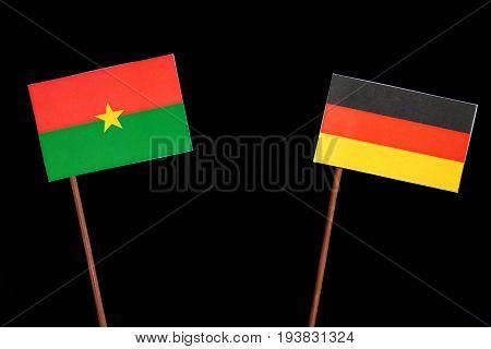 Burkina Faso Flag With German Flag Isolated On Black Background