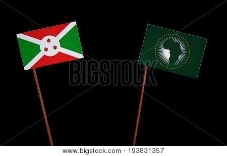 Burundi Flag With African Union Flag Isolated On Black Background