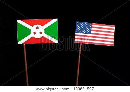 Burundi Flag With Usa Flag Isolated On Black Background