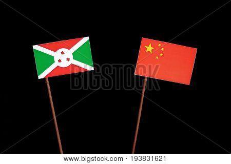 Burundi Flag With Chinese Flag Isolated On Black Background