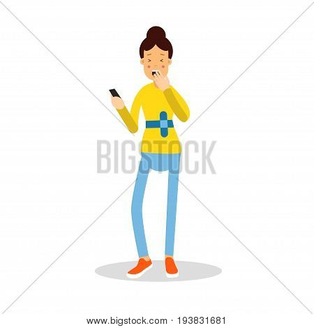 Beautiful young woman standing with mobile phone and laughing cartoon character vector Illustration isolated on a white background
