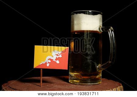 Bhutan Flag With Beer Mug Isolated On Black Background