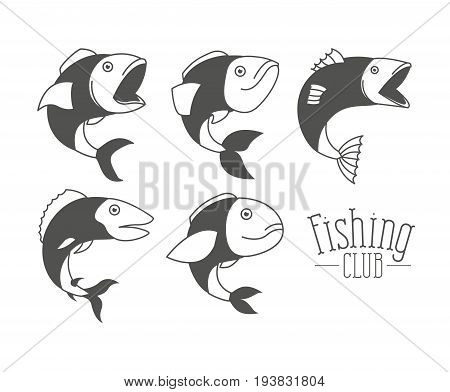 monochrome silhouette types fish and logo text fishing club vector illustration