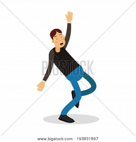 Young happy man in black pullover laughing with tears cartoon character vector Illustration isolated on a white background