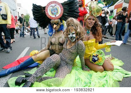 Paris France - Jun 27 2015: Colombian drag queen pose for photographers during the annual Gay Pride Parade in Paris France.