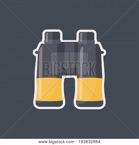 Binoculars vector flat icon Flat design of exploring equipment or birdwatching tool isolated on the dark background vector illustration