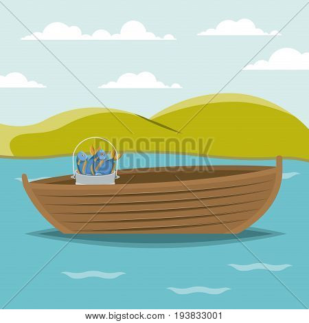 colorful background lake landscape and fishing boat and bucket with fish vector illustration