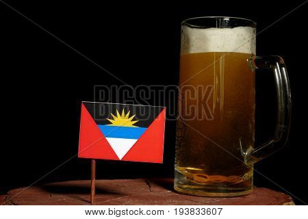 Antigua And Barbuda Flag With Beer Mug Isolated On Black Background