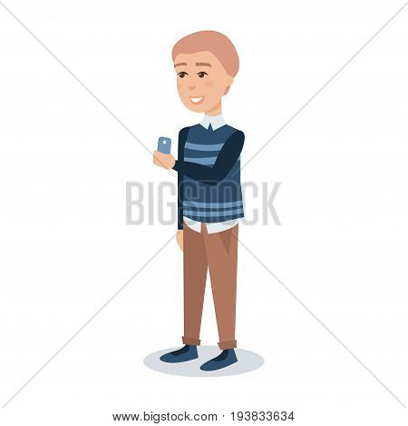 Male student in a blue pullover standing with a mobile phone in his hands cartoon character vector Illustration isolated on a white background