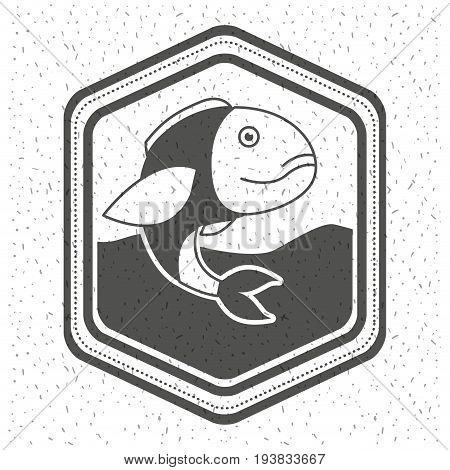 white background with sparkle of monochrome silhouette emblem with fish in the water vector illustration