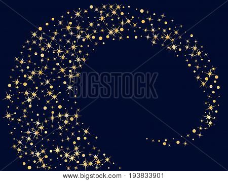 Magic stars golden glitter sparkles vector pattern. Cosmic night sky objects background. Spiral, helix illustration for holiday banner. Sparkles loop, scroll graphic design on dark blue.
