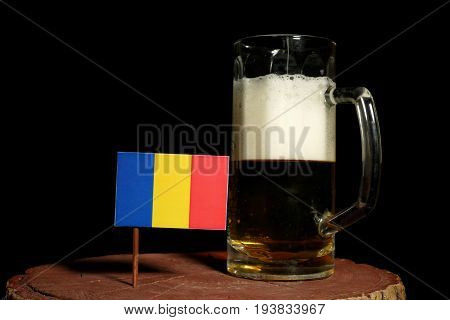 Chad Flag With Beer Mug Isolated On Black Background