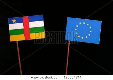 Central African Republic Flag With European Union (eu) Flag Isolated On Black Background