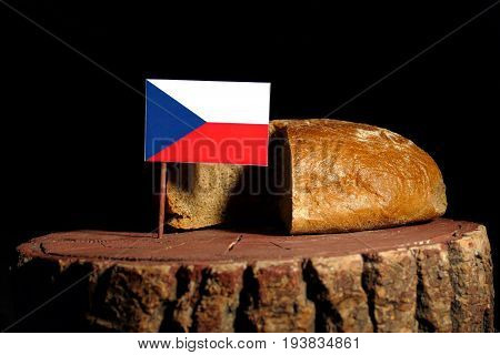 Czech Flag On A Stump With Bread Isolated