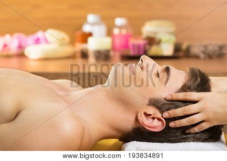 Head man massage health care well being beautiful happy