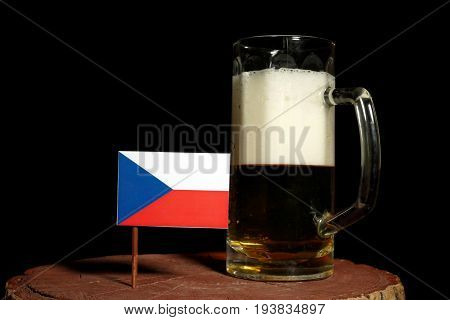Czech Flag With Beer Mug Isolated On Black Background